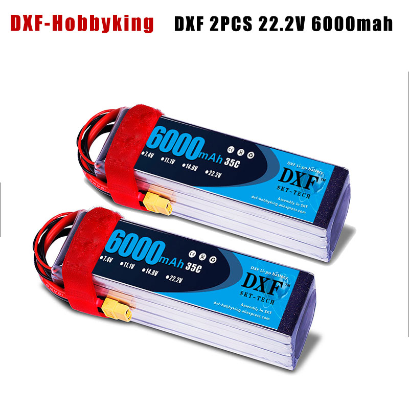 DXF 2PCS LiPo Battery 22.2V 6000mAh 6S 35C Max60C 22.2V RC LiPo Battery AKKU For Airplane Helicopter Drone Car Truck dxf li poly battery 22 2v 7000mah 35c max60c 6s rc car lipo bateria multicopter quadcopter race car truck traxx drone