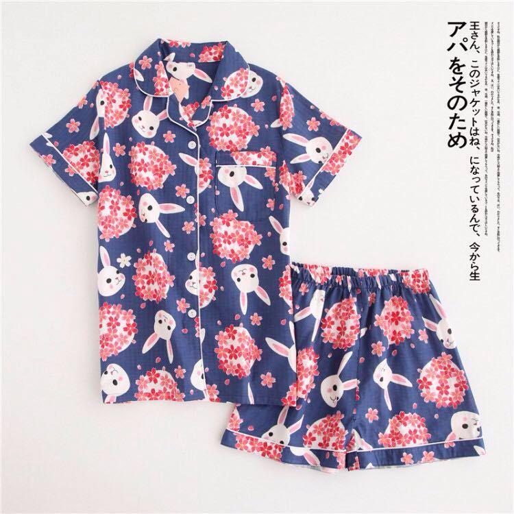 Short Pyjamas Women 100% Cotton Short Sleeves Ladies Pajama Sets Shorts Japanese Simple Cute Cartoon Sleepwear Women Homewear