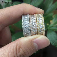 choucong 3 colors Princess cut ring 5A Zircon Stone Gold Filled Party Wedding Band Rings for women men Finger Jewelry Gift