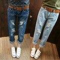 2016 Hot Venda Nova Chegada Escuro Algodão Meados Da Cintura das calças de Brim Mulheres coreanas Denim Calças Nove Calças Jeans Da Moda Calças Femininas Mendigo buraco