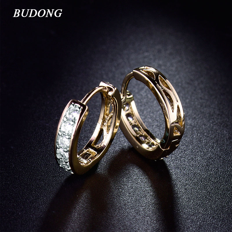 BUDONG Fashion 3 colors Infinity Hoop Earring for Women Silver Gold-color  Crystal Cubic Zirconia Earrings Wedding Jewelry XUE117 ffec5f723cb8