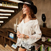 2017 Summer Style Women Brand Blouses Blusas Ladies Tops White Long Sleeve Lapel Pearl Casual Lace