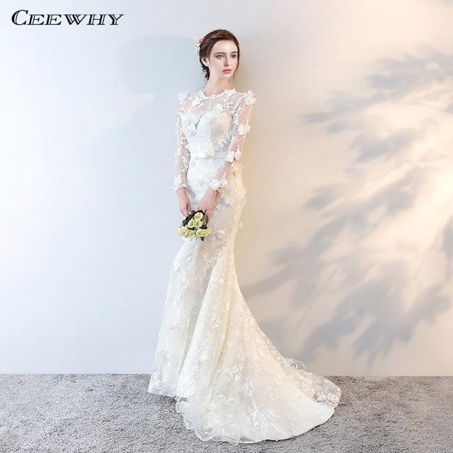 CEEWHY Vestido de Noiva Casamento Appliques Bridal Dress Elegant Mermaid Wedding  Dresses Long Sleeve Wedding Gowns Plus Size 2bb885435c68