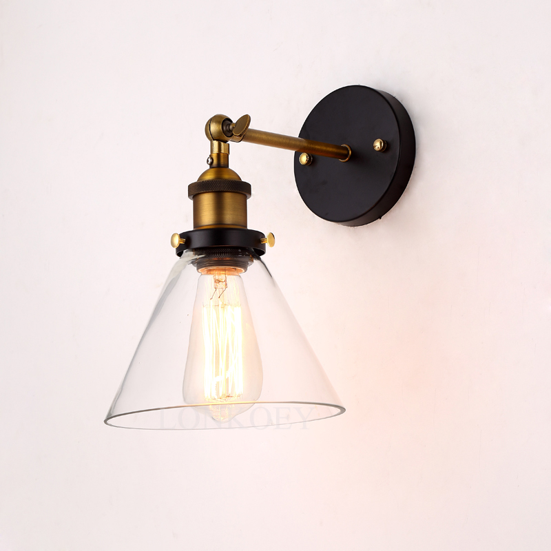 Loft Industrial Wall Lamps Vintage Bedside Wall Light Clear Glass Lampshade E27 Edison Bulbs 110V/220V wholesale price loft vintage industrial edison wall lamps clear glass lampshade antique copper wall lights 110v 220v for bedroom href