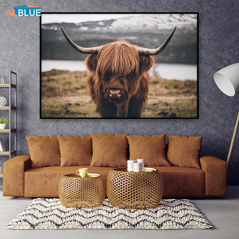 Highland Cow Poster Canvas Art Animal Posters And Prints Cattle Painting Wall Art Nordic Decoration Wall Picture For Living Room