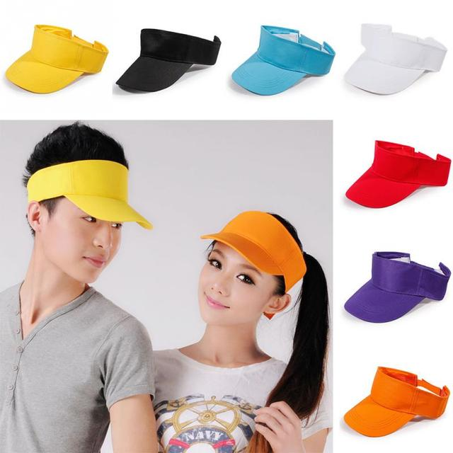 185a4b02f22 New 7 Colors Adjustable Unisex Summer Outdoor Sun Visor Hat Women Men Sport  Golf Baseball Tennis Hat Cap Gift