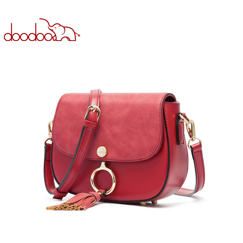 DOODOO Women Shoulder Bags Ladies Solid Messenger Bag Female Small Handbag Artificial Leather Small Saddle Tassel Crossbody Bag women floral leather shoulder bag new 2017 girls clutch shoulder bags women satchel handbag women bolsa messenger bag