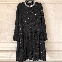 2018 новые осенние с длинным рукавом Платье черного цвета Для женщин Блестки Воротник платье элегантное платье свободные Стиль