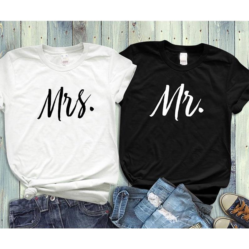 b1eb1bba6 EnjoytheSpirit Couple Tshirt His and Hers Mr Mrs Husband and Wife T Shirts  Matching Wedding Gift Top Tee Summer Unisex Fashion