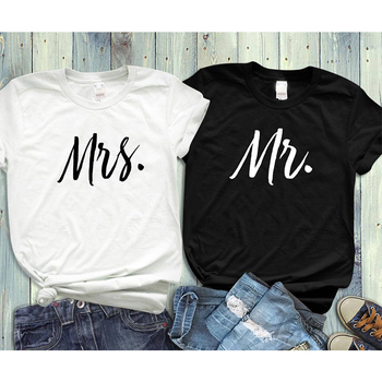 fc04e41b1c EnjoytheSpirit Couple Tshirt His and Hers Mr Mrs Husband and Wife T Shirts  Matching Wedding Gift Top Tee Summer Unisex Fashion
