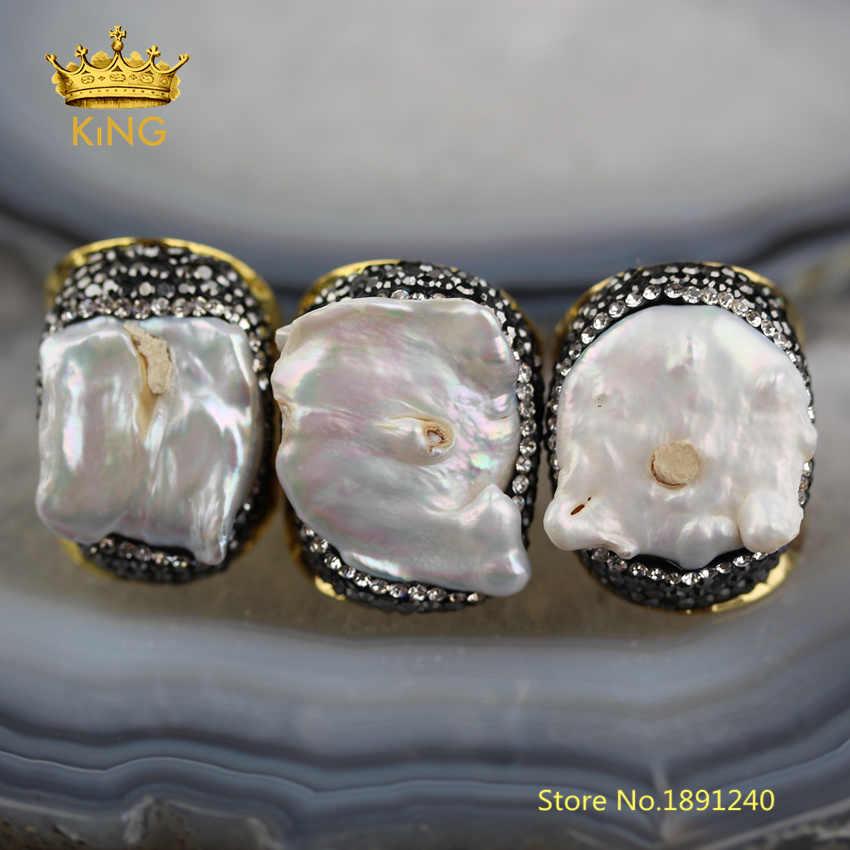 5 ชิ้น White Pearl เครื่องประดับ Fine, Natural Freeform Pearl Shell Solitaire แหวน, ชุบทองประดับ Rhinestones แหวนผู้ชาย YT34