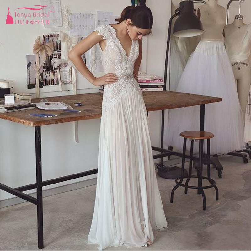 TANYA Cheap Boho Beach Wedding Dresses 2019 Sleeveless V Neck Backless Pleated Skirt Elegant A Line Bohemian Bridal Gowns JQ497