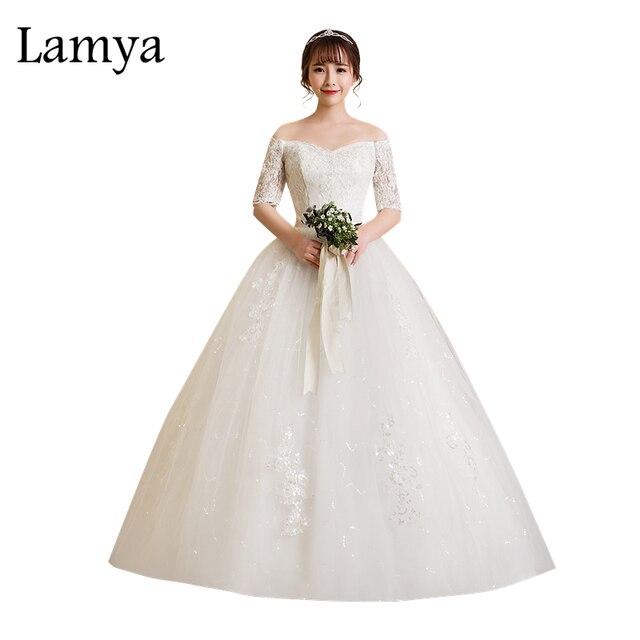 9bf3501b670 Lamya 2018 New Fashion Short Lace Sleeve Wedding Dresses Lace Up Plus Size  Bridal Alibaba Wedding Dress Vestido De Noiva-in Wedding Dresses from  Weddings ...