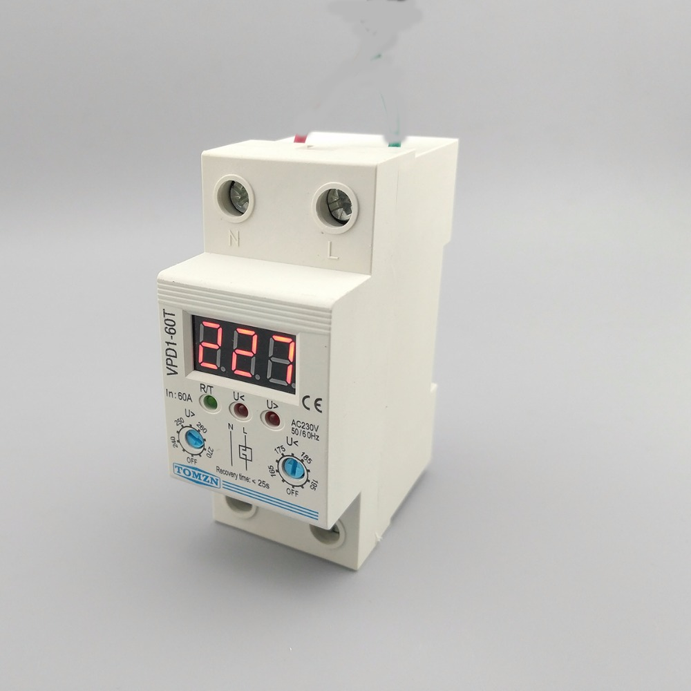 60a 220v Adjustable Automatic Reconnect Over Voltage And Under Relay In Circuit Breaker Protection Device With Voltmeter Monitor Breakers From Home