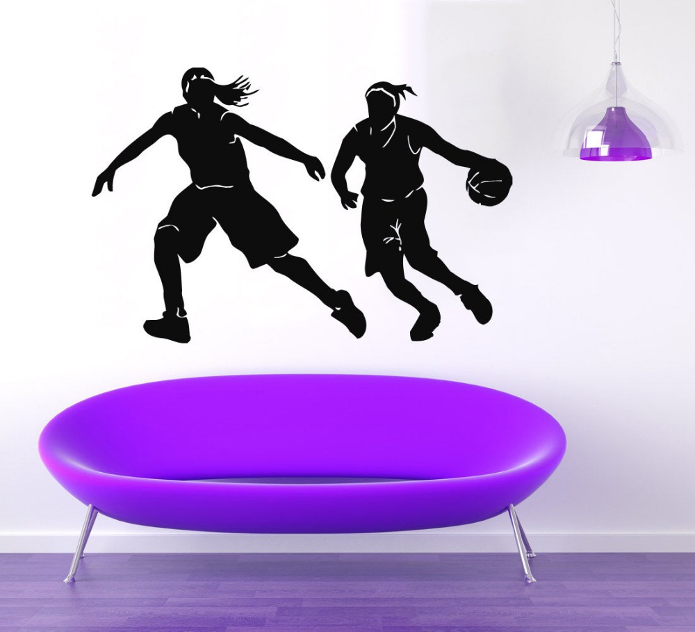 Elegant Wandtattoo Basketball Beste Wahl Vinyl Player Design Sport Mädchen Laufschuhe Blumen