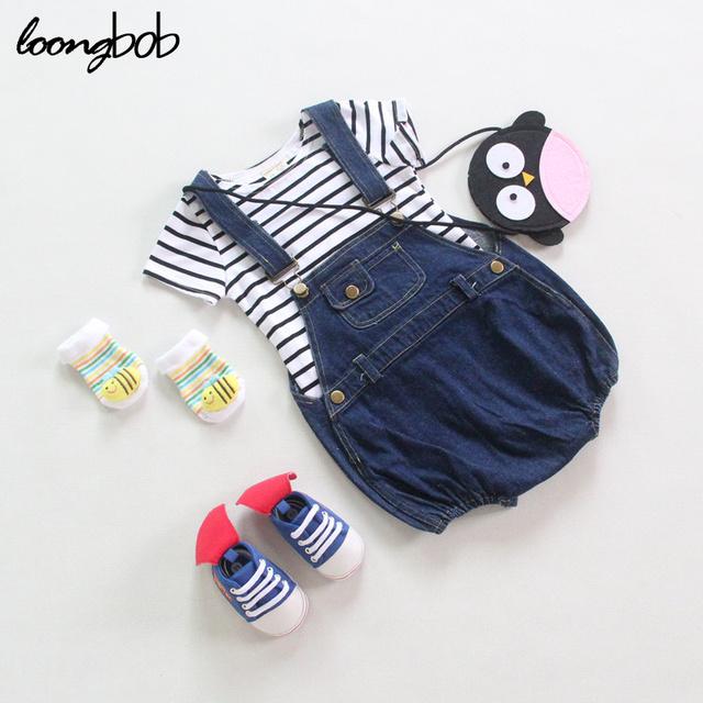 3-24 Meses Do Bebê Dos Miúdos Da Menina Calça Jeans Denim Em Geral Roupas de Verão Suspender Shorts Da Criança Recém-nascidos Do Bebê Macacão Novo Nascidos Romper