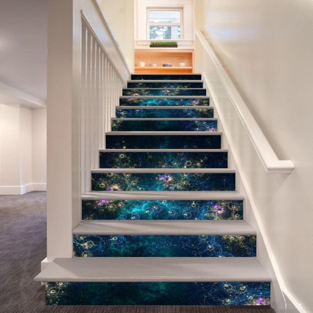 6pcs/set 18cm X 100cm Fantasy Nebula Pattern Style Stair Sticker Wallpaper LTT005