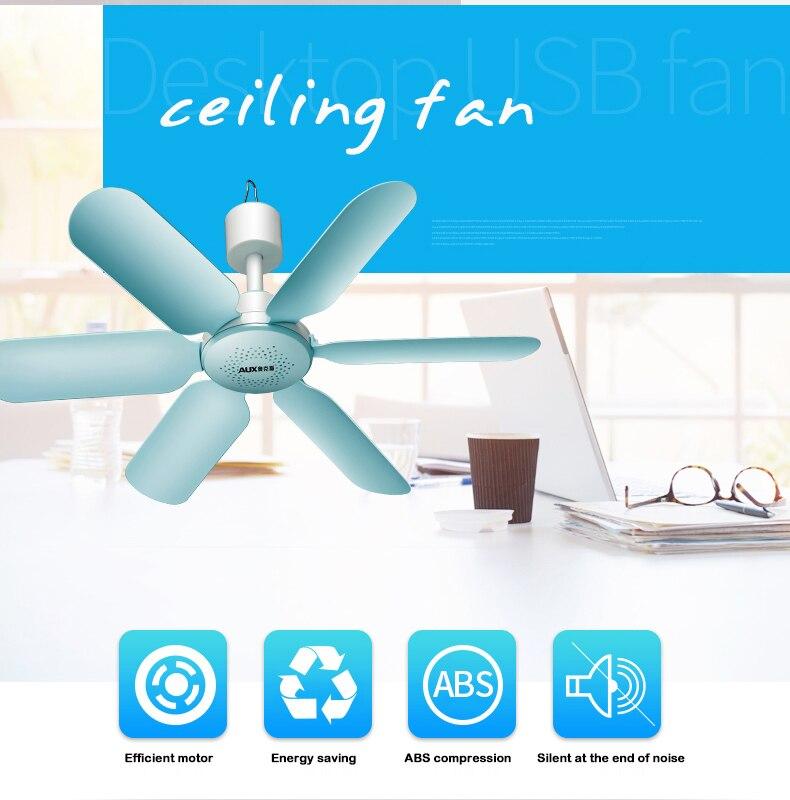 AUX 7 W 6 HOJA Super silencioso viento suave Mini hogar mudo Mini ventilador de techo ventilador ahorro ABS colgando del ventilador para el hogar Blue220V