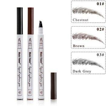 3 Colors Microblading Eyebrow Tattoo Pen 4 Head Fine Sketch Liquid Eyebrow Pencil Waterproof Tattoo Eye Brow Pen Smudge-proof 1