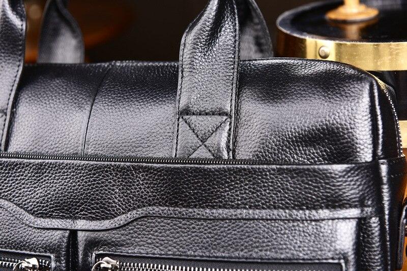 New Luxury Cow Genuine Leather Business Men's Briefcase Male Briefcase Shoulder Bag Men's Messenger Bag Tote Computer Handbag