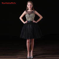 2018 Sexy Short Black Evening Dresses Suit Cut Out A Line Gold Embroidery Backless Real Photo
