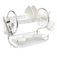 Кухонная сушилка для посуды сушилка Органайзер 2 яруса сушилка для посуды держатель корзина покрытая утюгом для мытья дома отлично