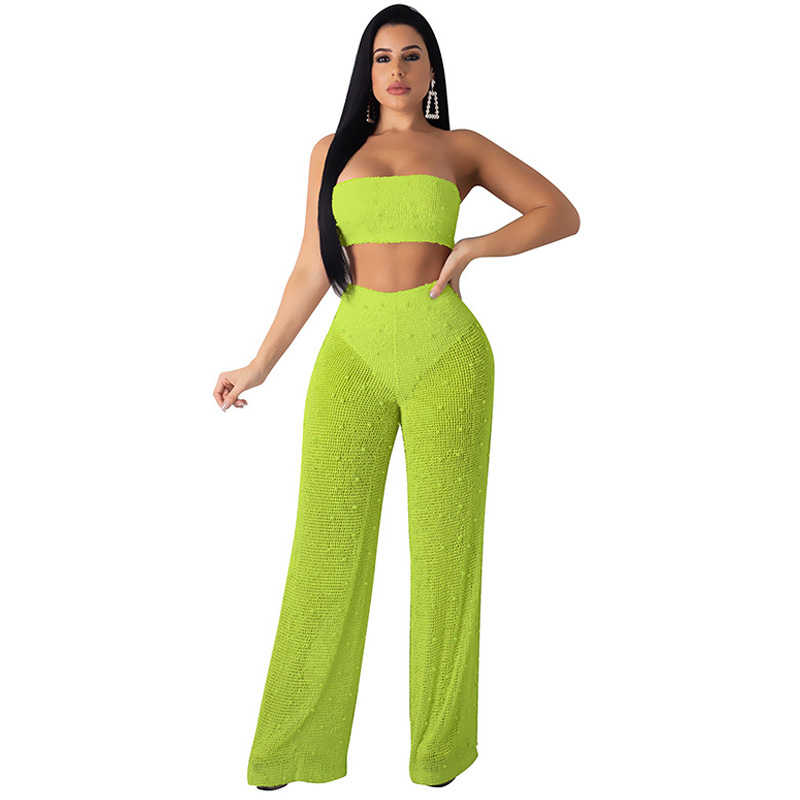 Summer new women 39 s wrapped chest jumpsuit two sets of solid color hollow wide leg jumpsuit suit sexy large size knitted jumpsuit in Jumpsuits from Women 39 s Clothing