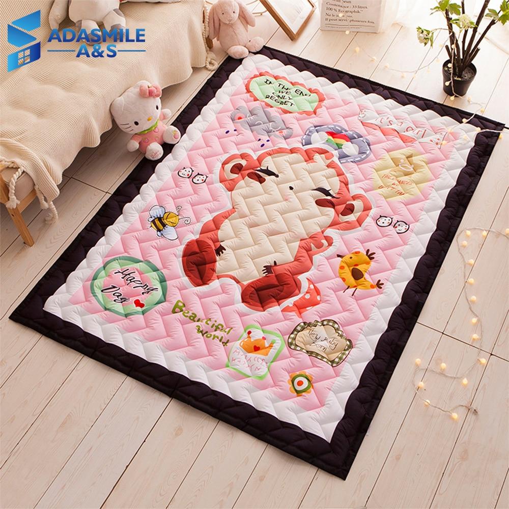 Tapis nordique pour chambre d'enfants tapis vague matelassé Tatami tapis de zone chambre dessin animé rose tapis de jeu rampant tapis de salon