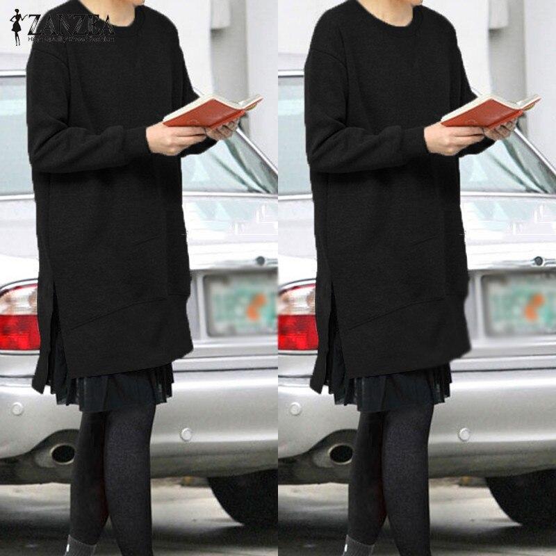 f929d9462 Oversized 2018 Outono ZANZEA Mulheres Velo Hoodies Moletons O Pescoço de  Manga Comprida Divisão Irregular Casual Solto Pullovers Sólidos