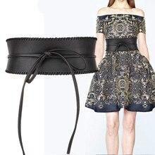 10cm width Ladies PU lace-up cummerbunds vogue ornament windbreaker costume vast belt for ladies retro development