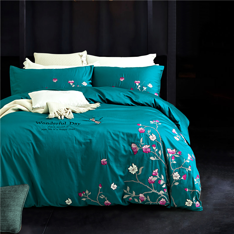 Luxury cotton floral embroidery bedding sets king queen for Luxury cotton comforter sets