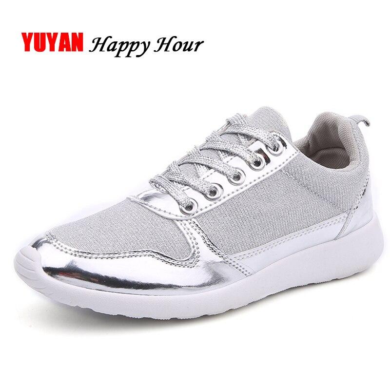 Novo 2019 Tênis para Mulheres Paillette Calcanhar Plana Respirável Sapatos Sapatilhas Da Forma das Mulheres Das Senhoras Sapatos de Malha Marca ZH2482