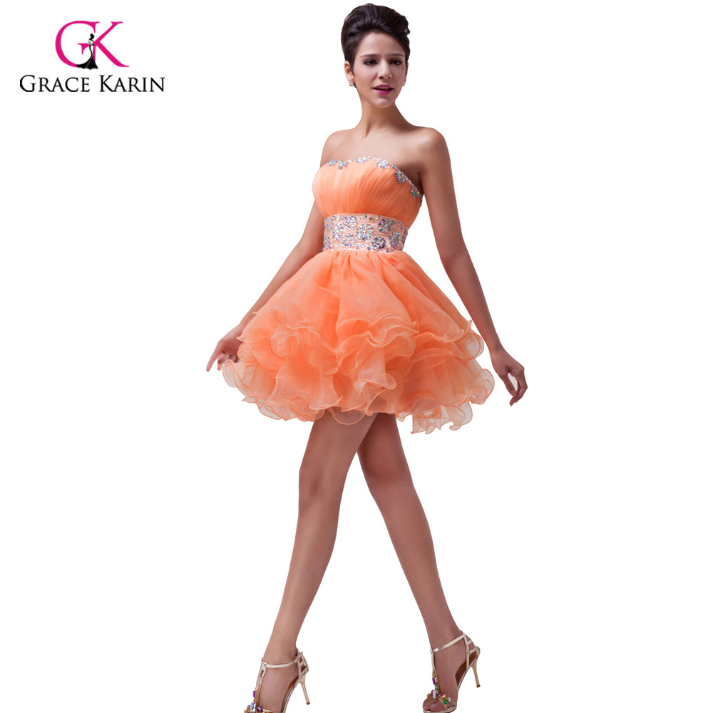 orange short prom dresses