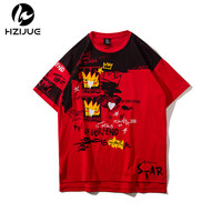 HZIJUE New 2018 Summer T Shirts Men 100 Pure Cotton Irregular Top Casual Slim Fit High