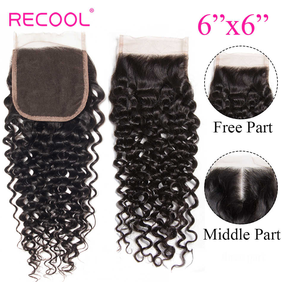 Recool 6x6 бразильские кудрявые кружева на заказ с сеткой с детскими волосами бесплатная средняя часть Remy человеческие волосы швейцарские кружева верхнее закрытие