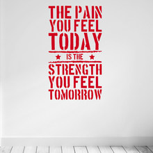 The Pain you Feel Today... Home Fitness Gym Wall Sticker , Strength Workout Vinyl Wall Art Mural Decals Room Decorations(China)