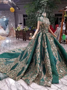 Image 3 - LS11093 luxury green evening dresses ladies high neck cap sleeves crystal party dress with golden lace dubai style real photos