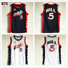 b74eb95463a 2018 ECTIC New arrival Grant Hill  5 USA white Blue Retro Throwback 100%  Stitched