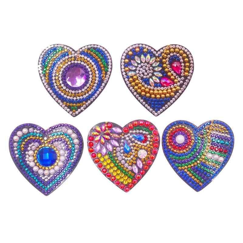 3/4/5pcs5D DIY Diamond Lukisan Gantungan Kunci Kartun Hewan Tanaman Mencintai Tengkorak Burung Hantu Kue Tas Wanita Liontin gantungan Kunci Perhiasan Gantungan Kunci