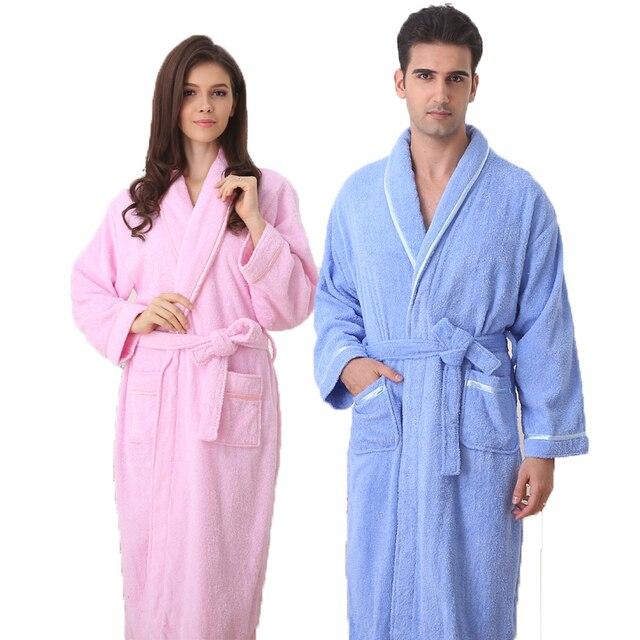 f6d69ba936 Cotton bathrobe women nightgown men sleepwear for girls blanket towel  fleece lovers long soft autumn winter