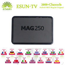 Mag250 Mag254 with 1 Year ESUNTV Configured Wifi USB Linux system Arabic IPTV Europe IPTV Italy UK Spain French IPTV Set Top Box(China)