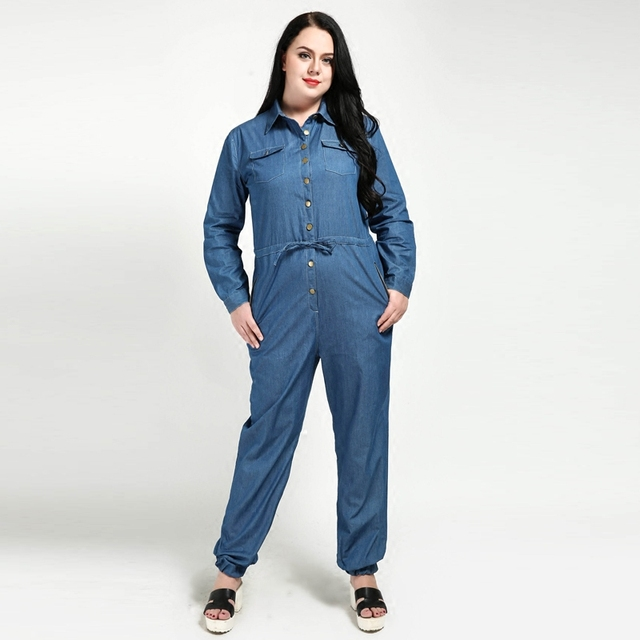 0f8522567991 New 2018 Spring Autumn Women Casual Denim Rompers Long Sleeves Overalls  Jumpsuit Jeans Plus Size Rompers 4XL 5XL 6XL 7XL W157