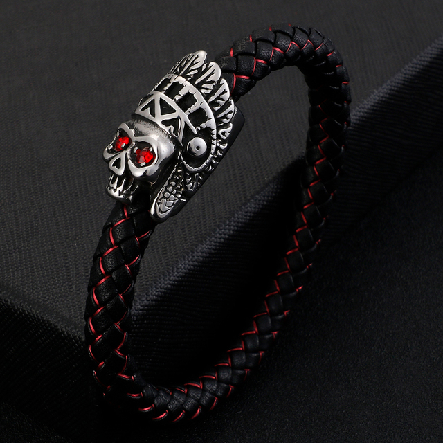 INDIAN SKULL LEATHER BRACELET
