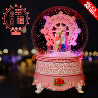 2018 Free Shipping Snow Crystal Ball Music Box Of The Ferris Wheel Birthday Gift To Send His Girlfriend Wife Romantic Girls