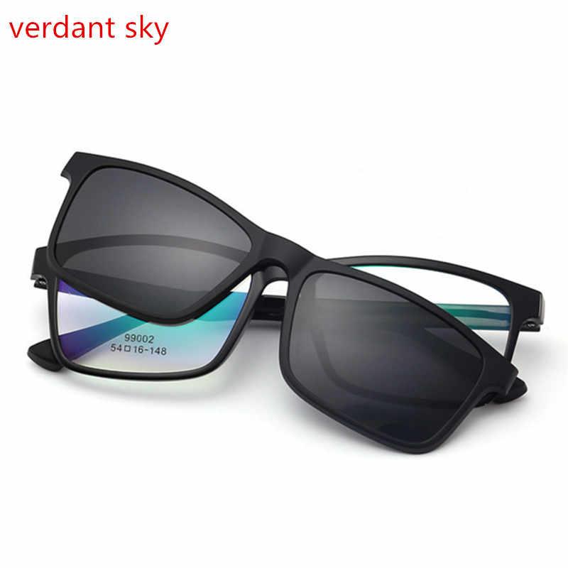 25a8f1f55d 2017 TR90 eyeglass frame mirror polarized Anti-Reflective UV400 sun lens  clip on fashion optical