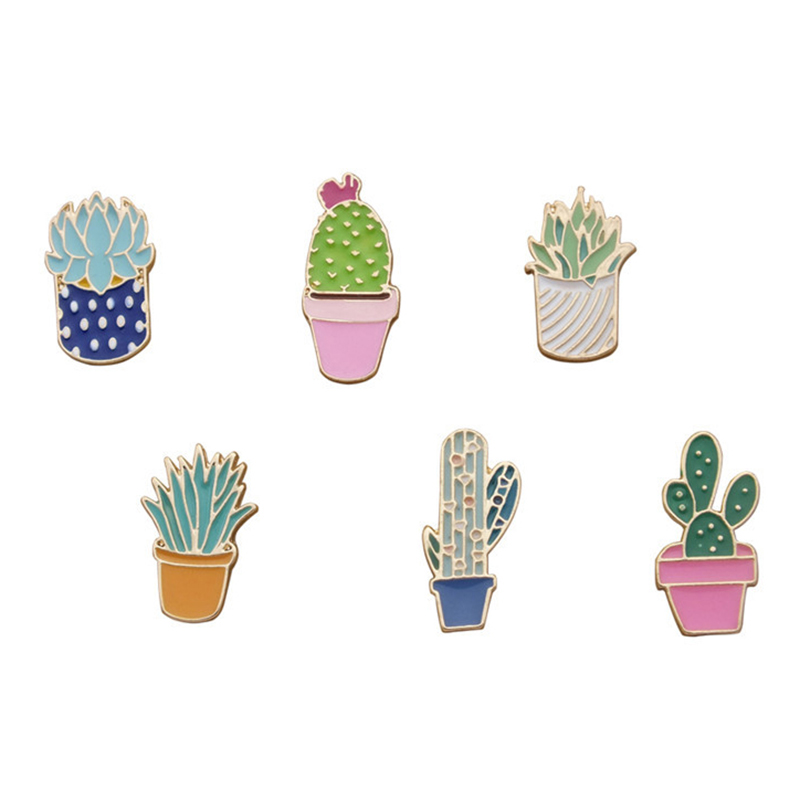 6 Pcs/set Brooches Colorful Succulents Plant Cactus Pins Badge Clothes Colorful Cartoon Brooches Jacket Bag DIY Fashion Badge