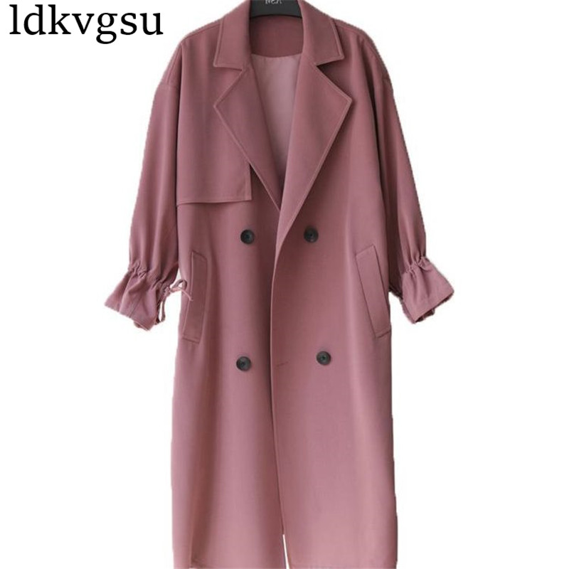 2019 New Hot Spring Autumn Overcoats Women   Trench   Coats Long Sleeve Fashion Turn-Down Collar Outerwear Clothing XS-XXL v328