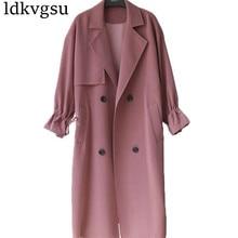 2019 New Hot Spring Autumn Overcoats Women Trench Coats Long Sleeve Fashion Turn