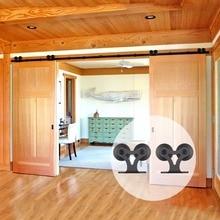 LWZH Double T Shaped Sliding Interior Barn Door Hardware Sets Sliding Closet Wood Door Kits for