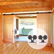 LWZH Double T Shaped Sliding Interior Barn Door Hardware Sets Sliding Closet Wood Door Kits for Double Door 14FT/15FT